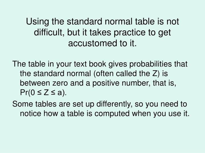 Using the standard normal table is not difficult, but it takes practice to get accustomed to it.