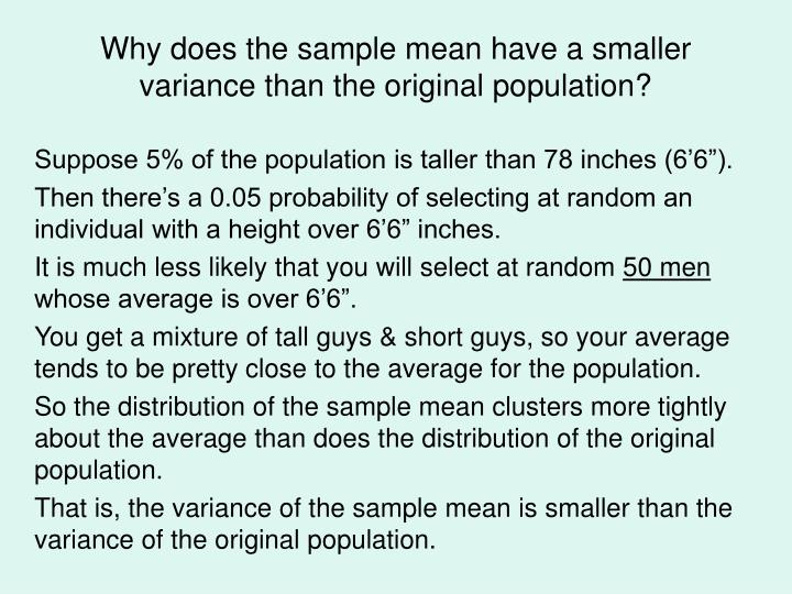 Why does the sample mean have a smaller variance than the original population?