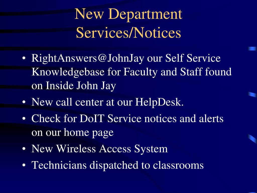 New Department Services/Notices