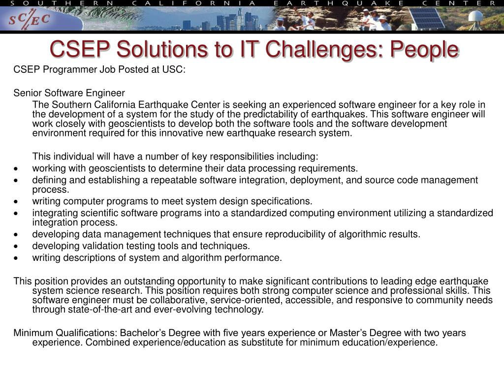 CSEP Solutions to IT Challenges: People