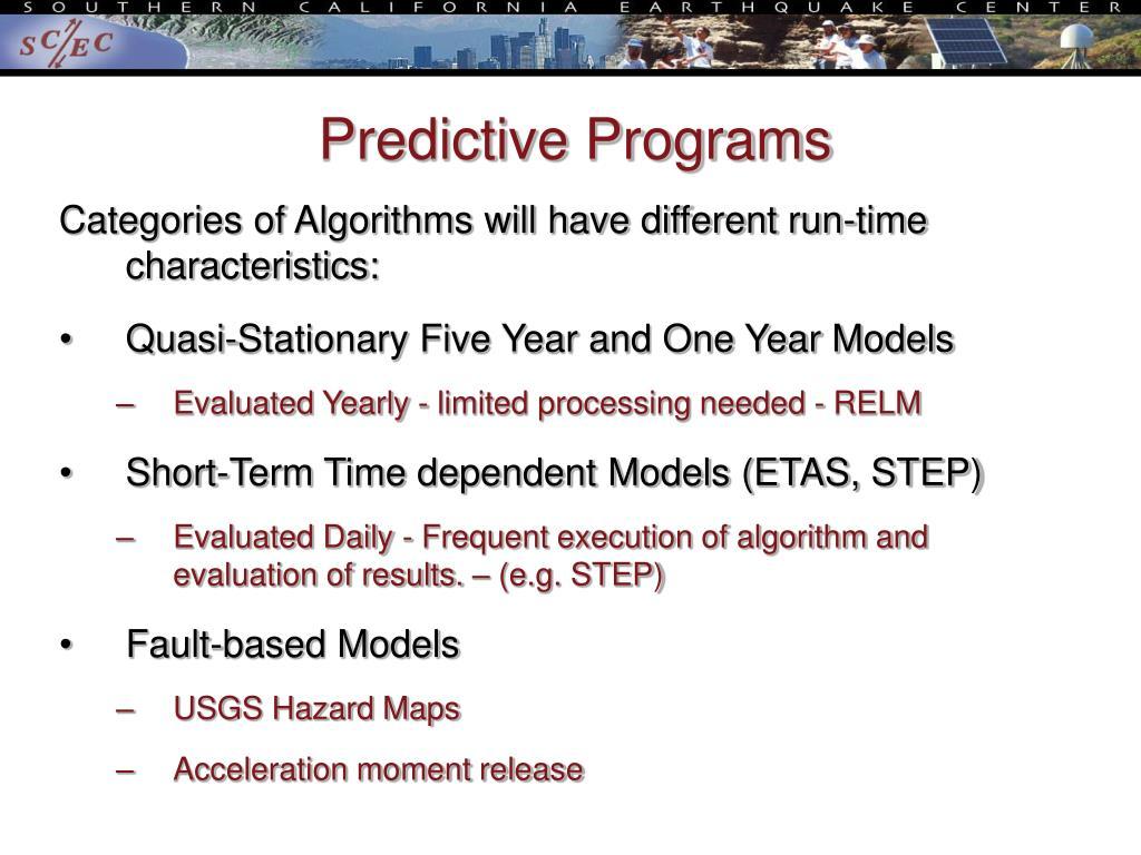 Predictive Programs