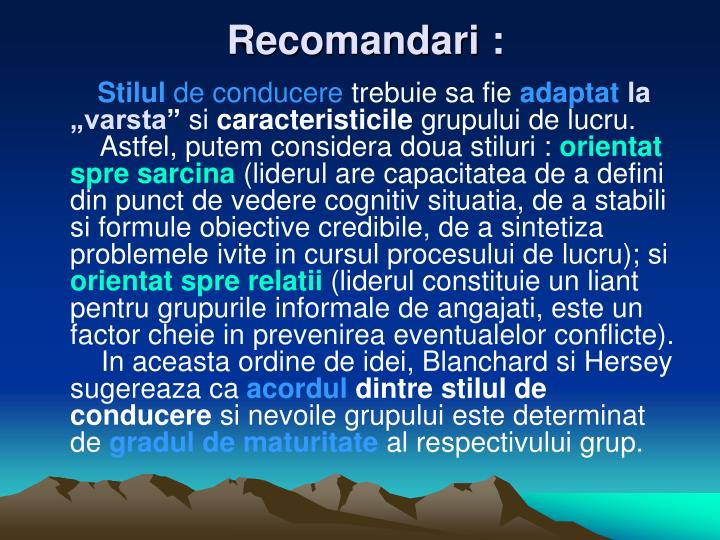 Recomandari :