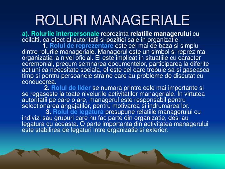ROLURI MANAGERIALE