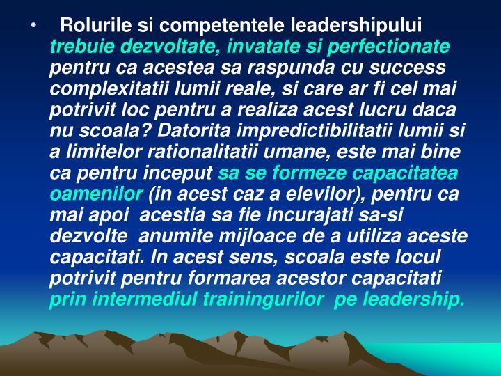 Rolurile si competentele leadershipului