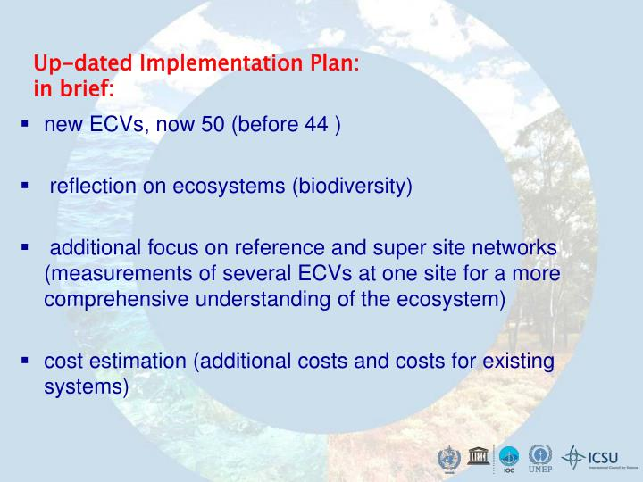 Up-dated Implementation Plan: