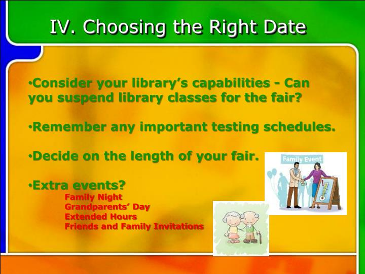 IV. Choosing the Right Date