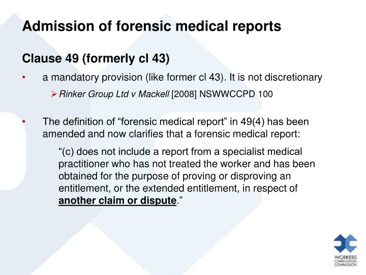Admission of forensic medical reports