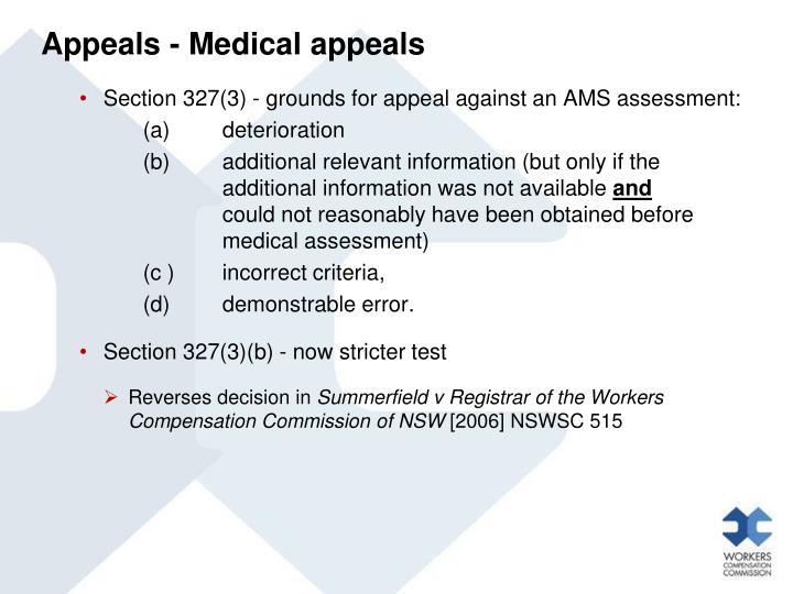 Appeals - Medical appeals