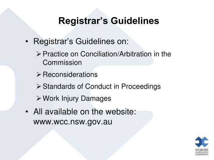 Registrar's Guidelines