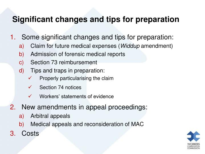 Significant changes and tips for preparation