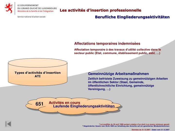 Les activités d'insertion professionnelle