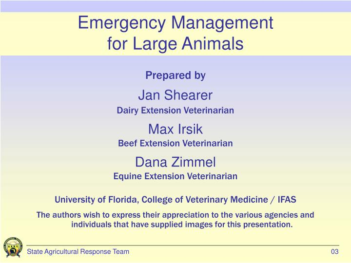 Emergency management for large animals