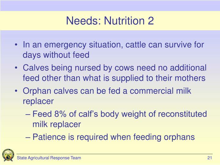 Needs: Nutrition 2