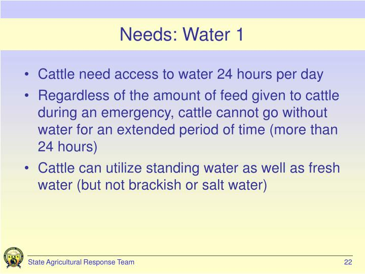 Needs: Water 1