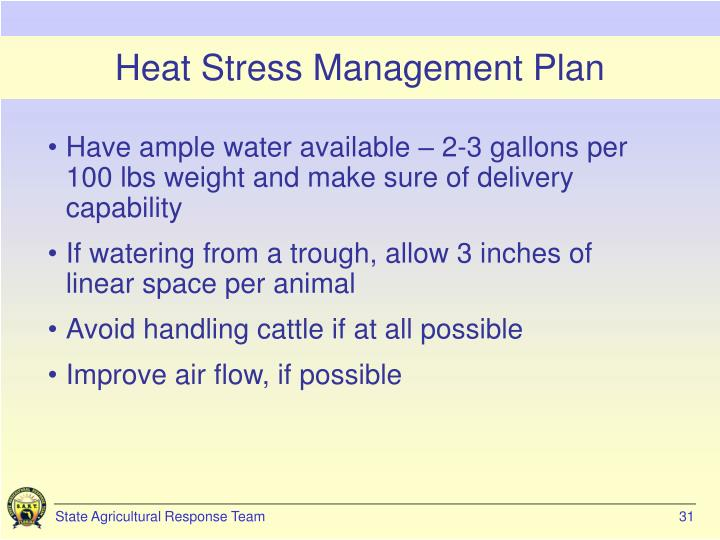 Heat Stress Management Plan