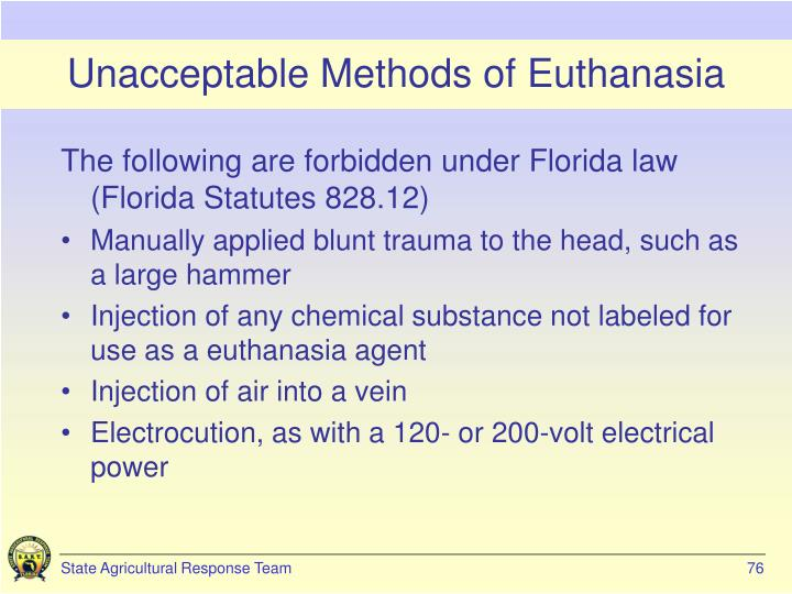 Unacceptable Methods of Euthanasia