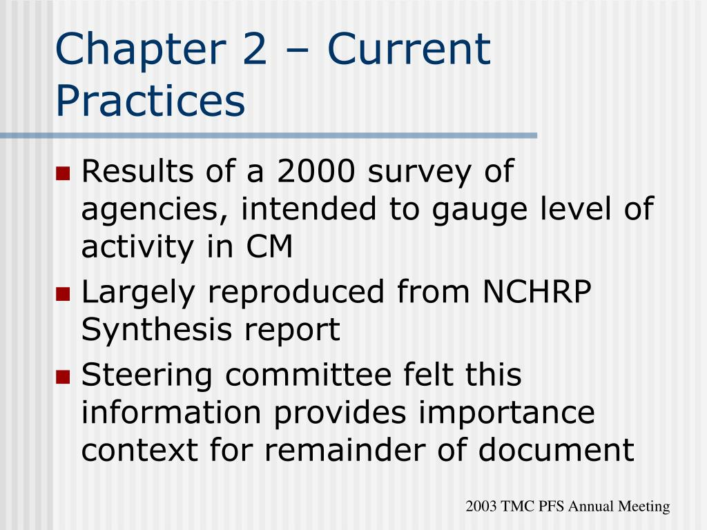 Chapter 2 – Current Practices