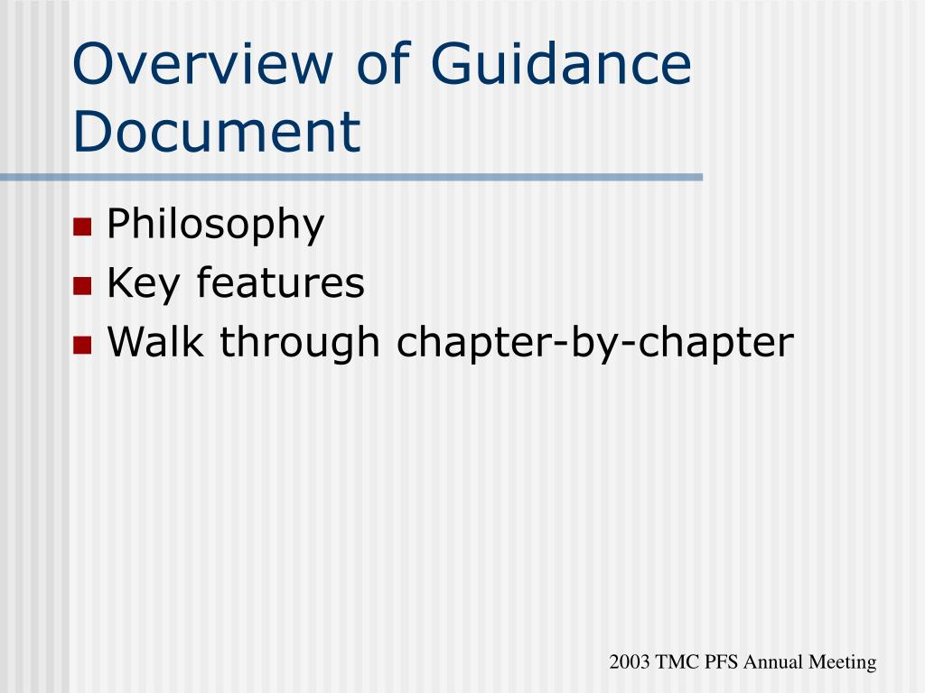 Overview of Guidance Document