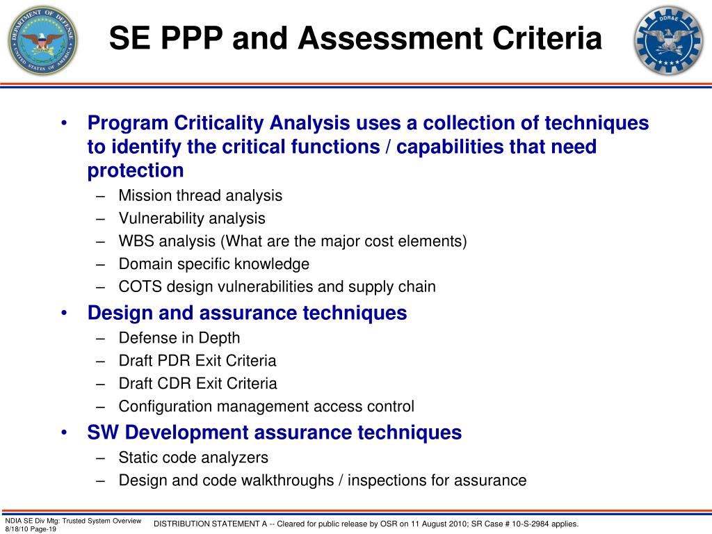 SE PPP and Assessment Criteria