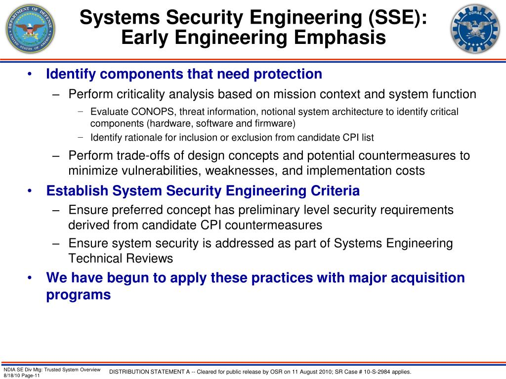 Systems Security Engineering (SSE):