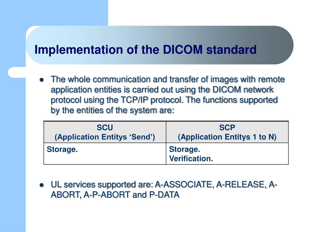 Implementation of the DICOM standard