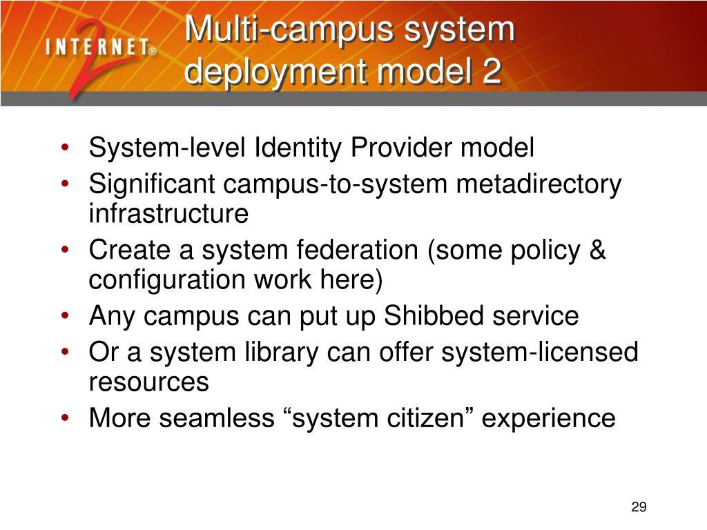 Multi-campus system deployment model 2