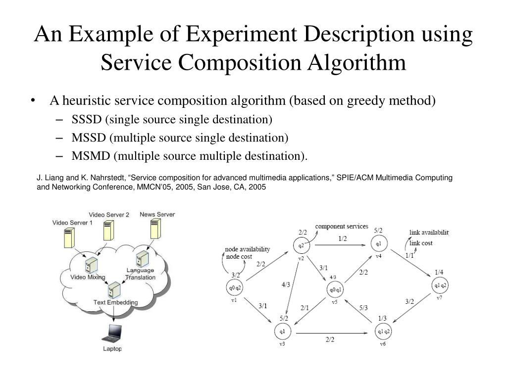 An Example of Experiment Description using Service Composition Algorithm
