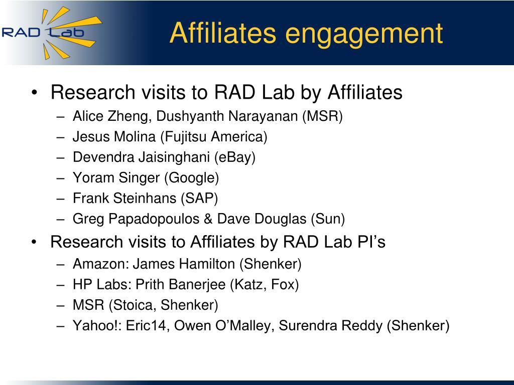 Affiliates engagement