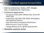 invited appearances talks