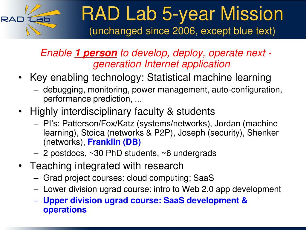 RAD Lab 5-year Mission