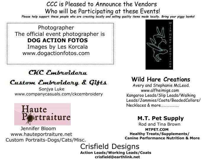 CCC is Pleased to Announce the Vendors