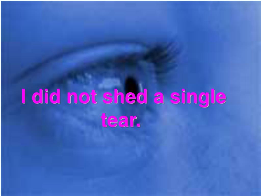 I did not shed a single tear.