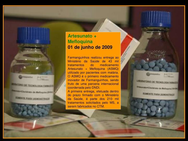 Artesunato + Mefloquina