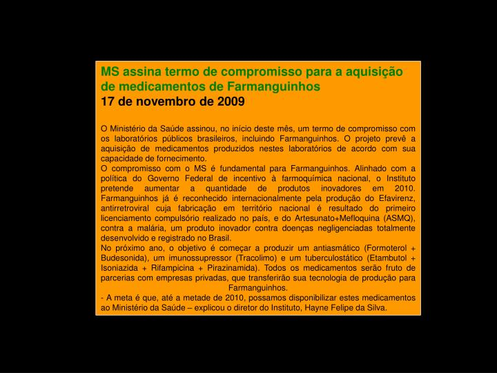 MS assina termo de compromisso para a aquisição de medicamentos de Farmanguinhos