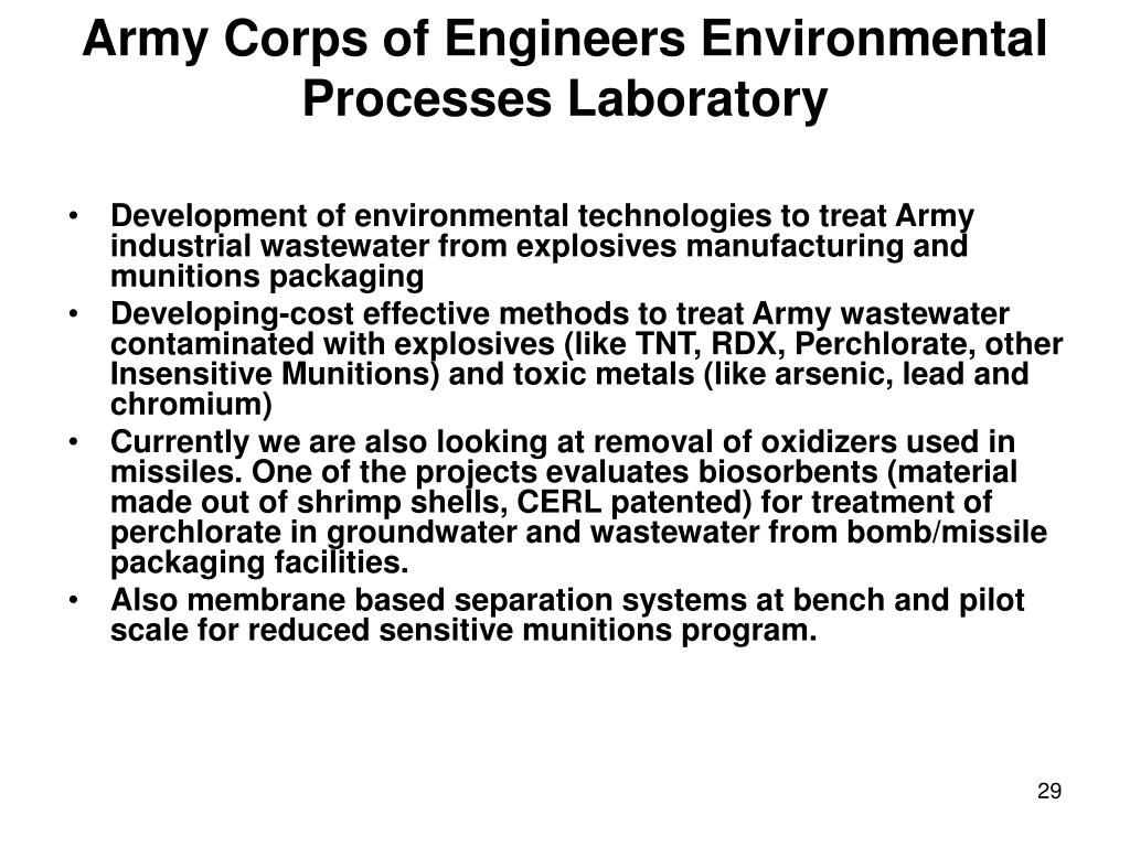 Army Corps of Engineers Environmental Processes Laboratory
