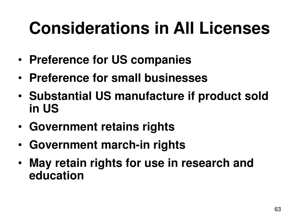 Considerations in All Licenses