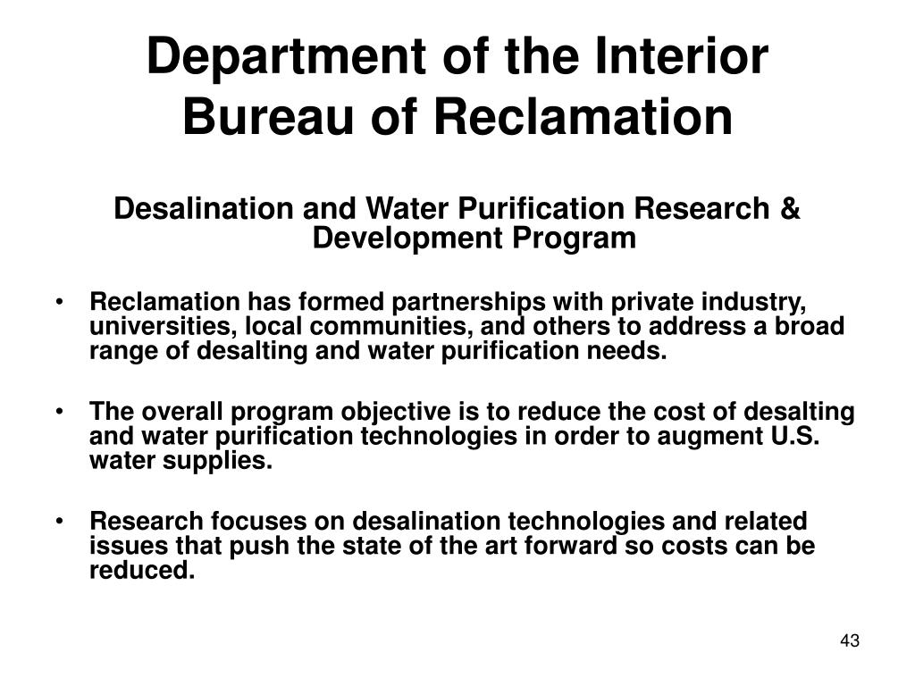 Department of the Interior Bureau of Reclamation