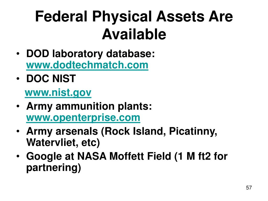 Federal Physical Assets Are Available