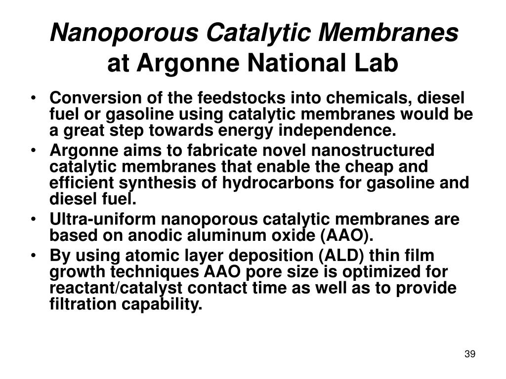 Nanoporous Catalytic Membranes