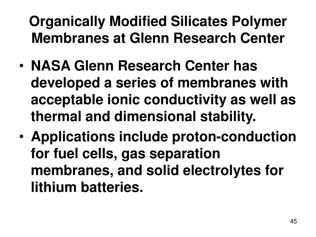 Organically Modified Silicates Polymer Membranes at Glenn Research Center