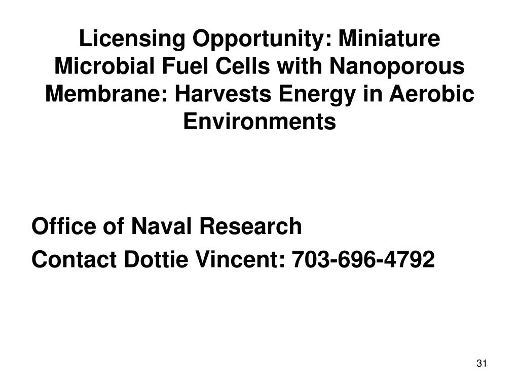Licensing Opportunity: Miniature Microbial Fuel Cells with Nanoporous Membrane: Harvests Energy in Aerobic Environments