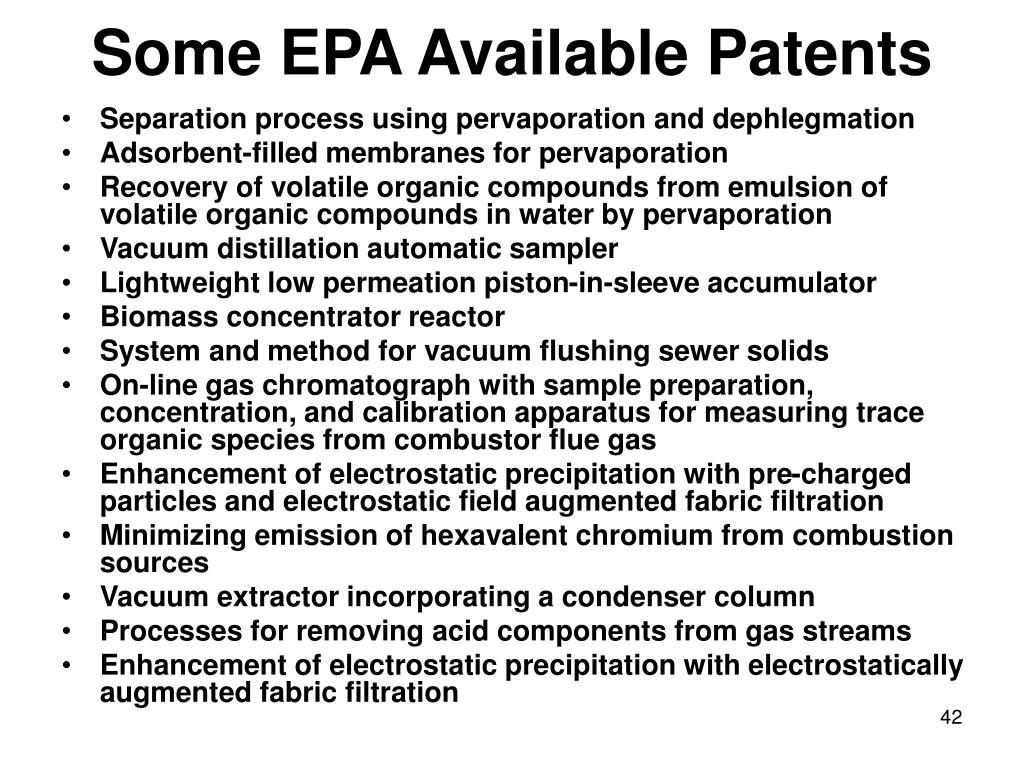 Some EPA Available Patents