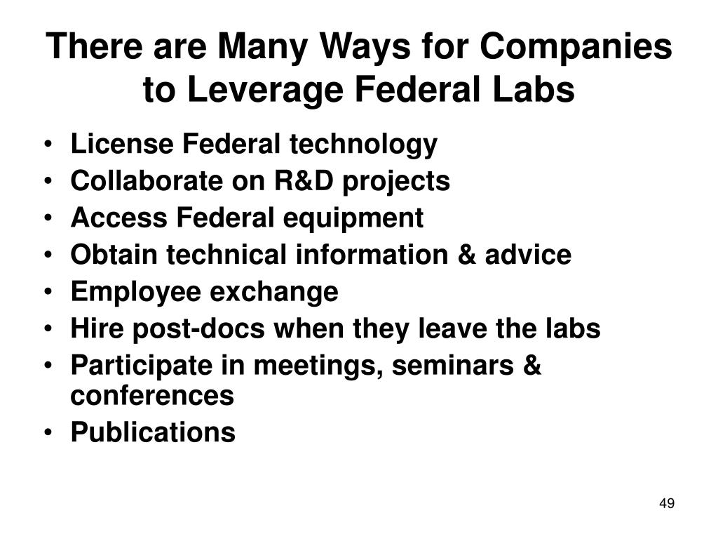 There are Many Ways for Companies to Leverage Federal Labs