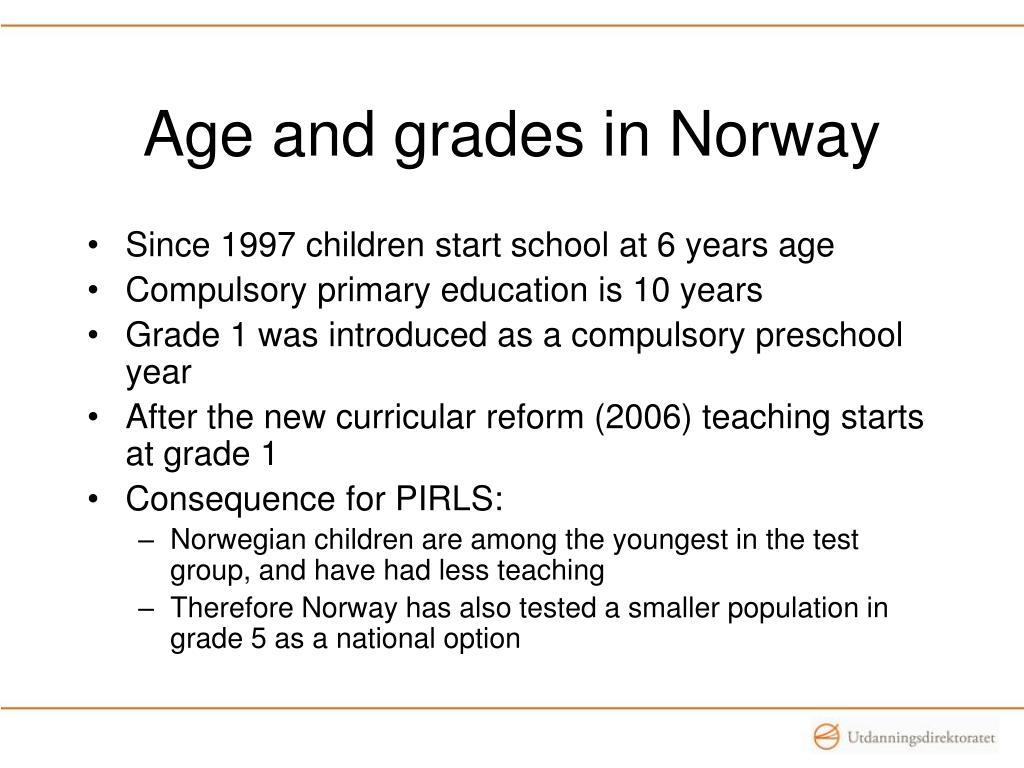 Age and grades in Norway
