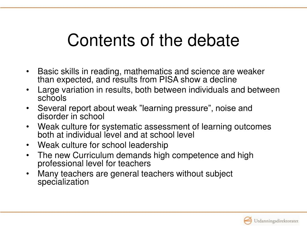 Contents of the debate