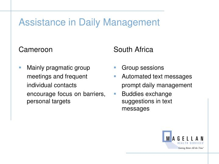 Assistance in Daily Management