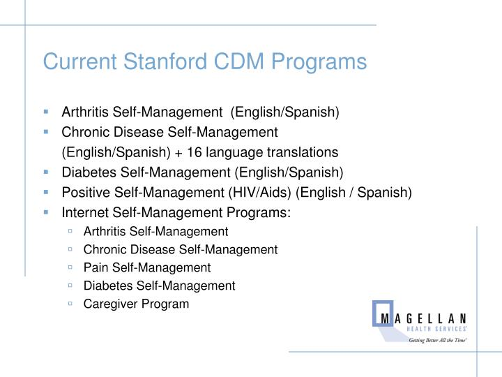Current Stanford CDM Programs