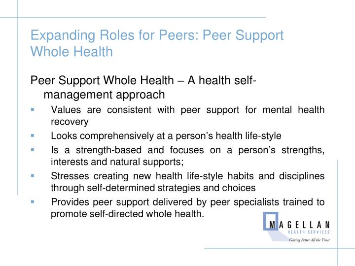 Expanding Roles for Peers: Peer Support Whole Health