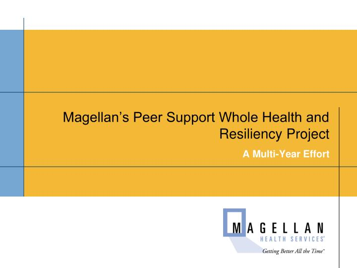 Magellan's Peer Support Whole Health and Resiliency Project
