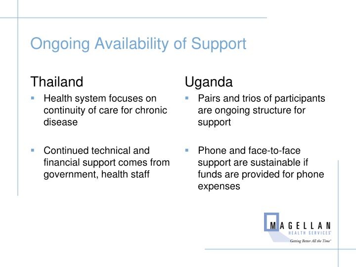 Ongoing Availability of Support